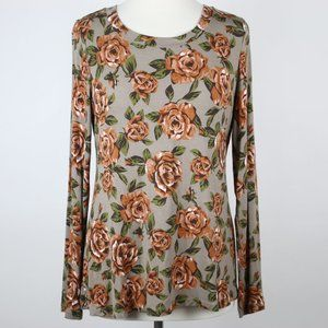 LOGO Lori Goldstein Floral Knit Top SMALL